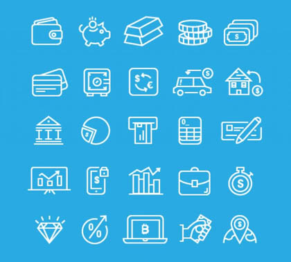 Post thumbnail of Simple Banking icons Free Vector