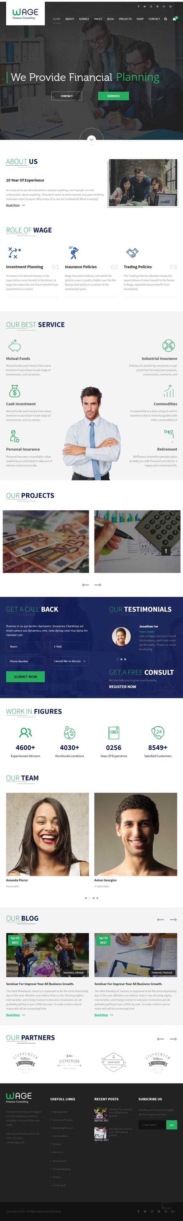 Wage – Business and Finance WordPress Theme