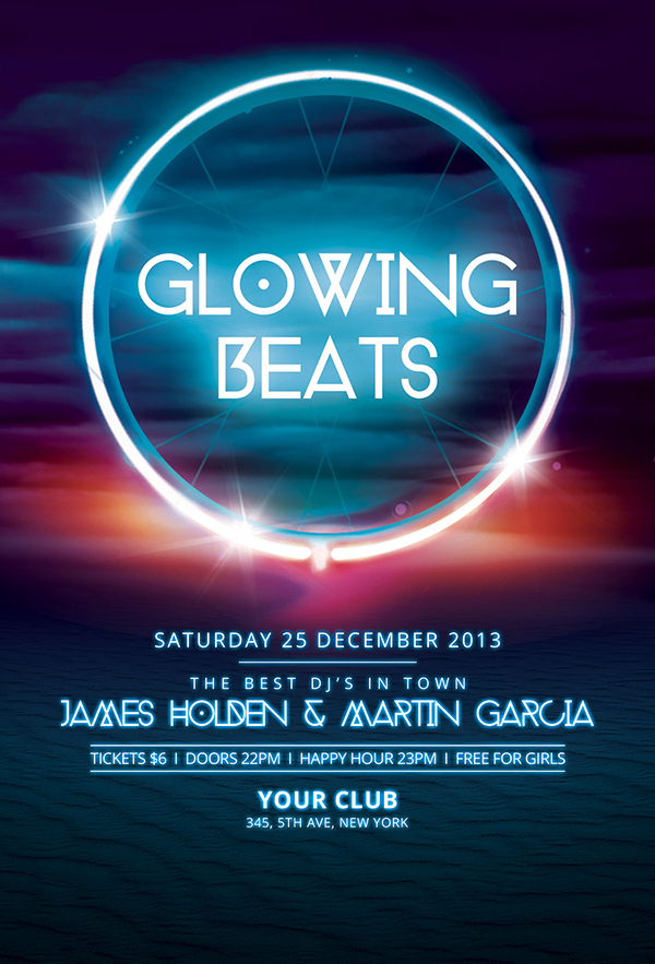 Glowing Beats Flyer Template