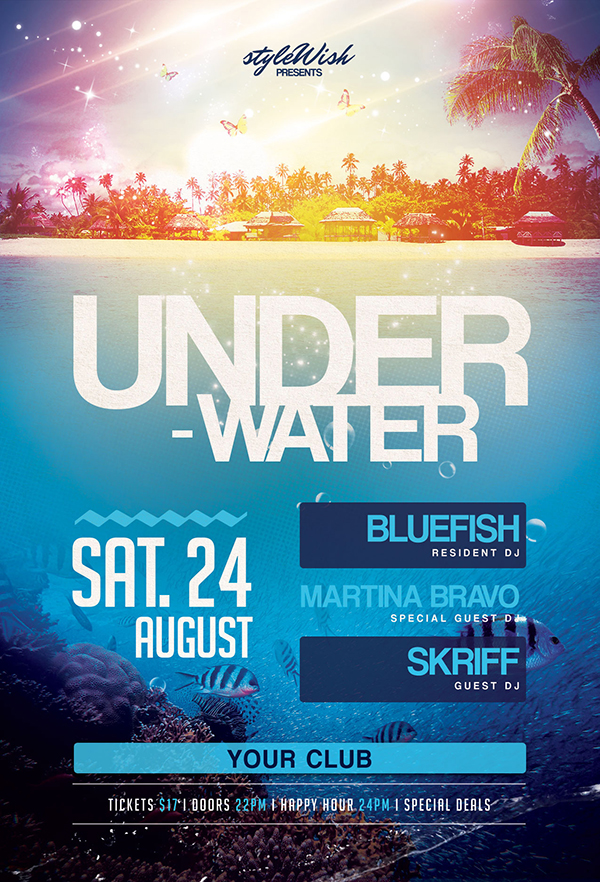 Underwater Party Flyer Template