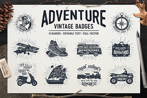 Adventure Vintage Badges