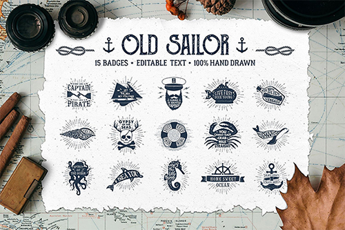 Old Sailor Hand Drawn Badges