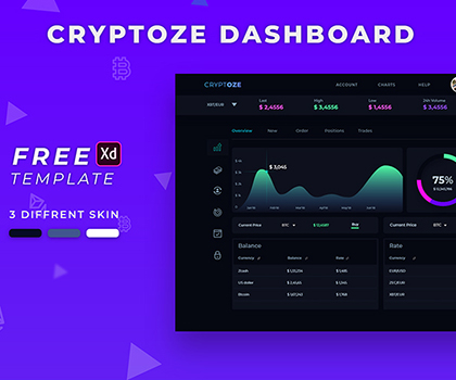 Post thumbnail of Freebie : Cryptoze Dashboard UI Design Free PSD Download