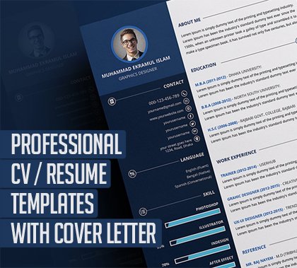 20 Professional Resume / CV  Templates with Cover Letter