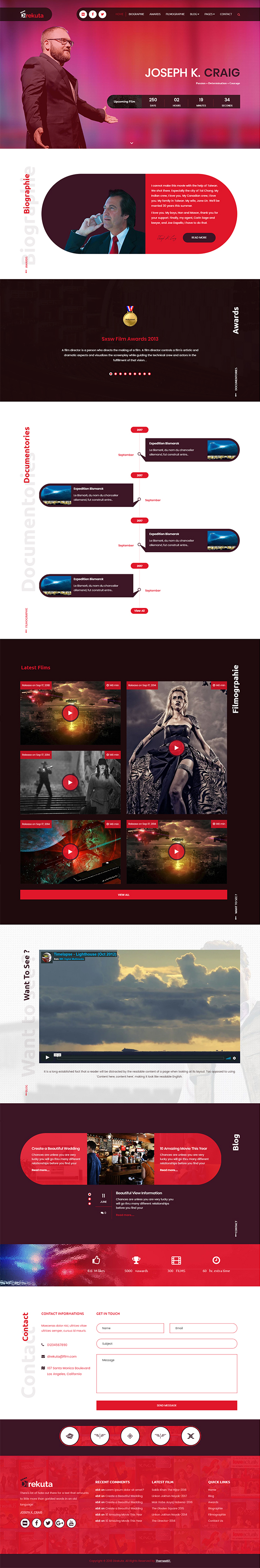 Film Director & Video Portfolio WordPress Theme