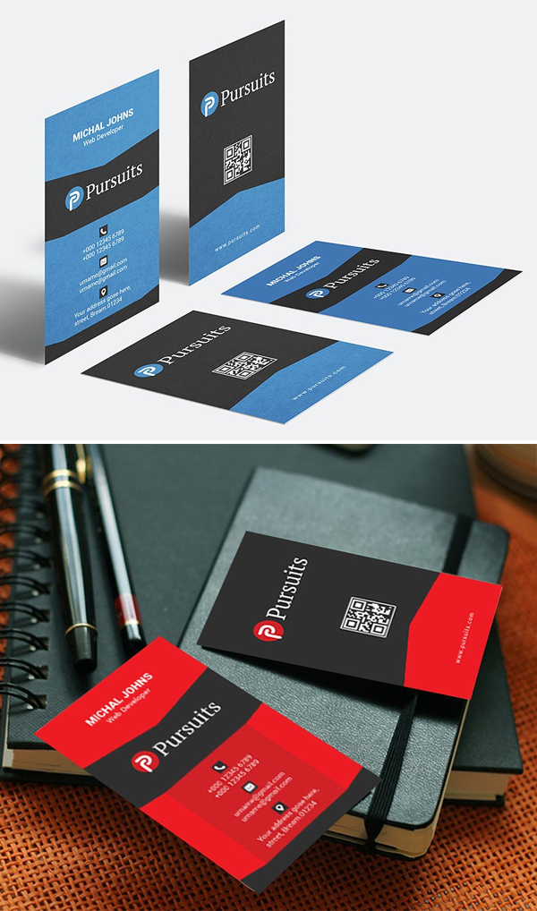 Creative Portrait Business Card Template Design