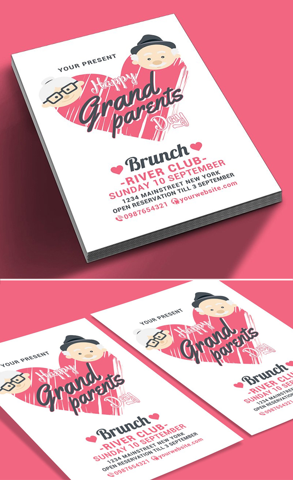 Happy Grandparents Day Flyer Template