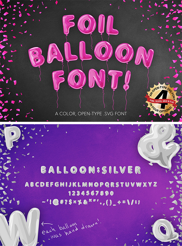 Foil Balloon Font pink gold silver