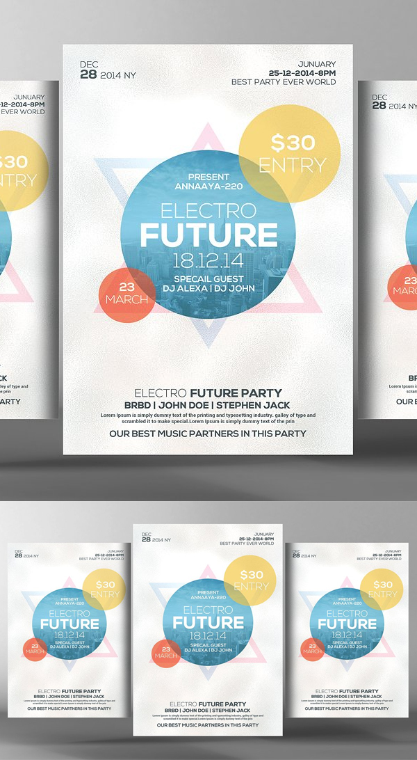 Electro House Futuristic Party Flyer