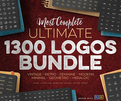 Big Bundle 1300 Modern Logos, Badges and Retro Set