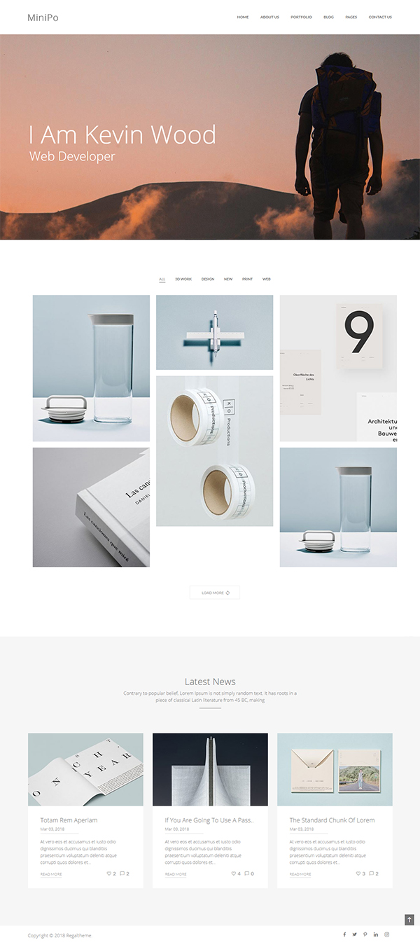 Multipurpose Minimal Portfolio WordPress Theme