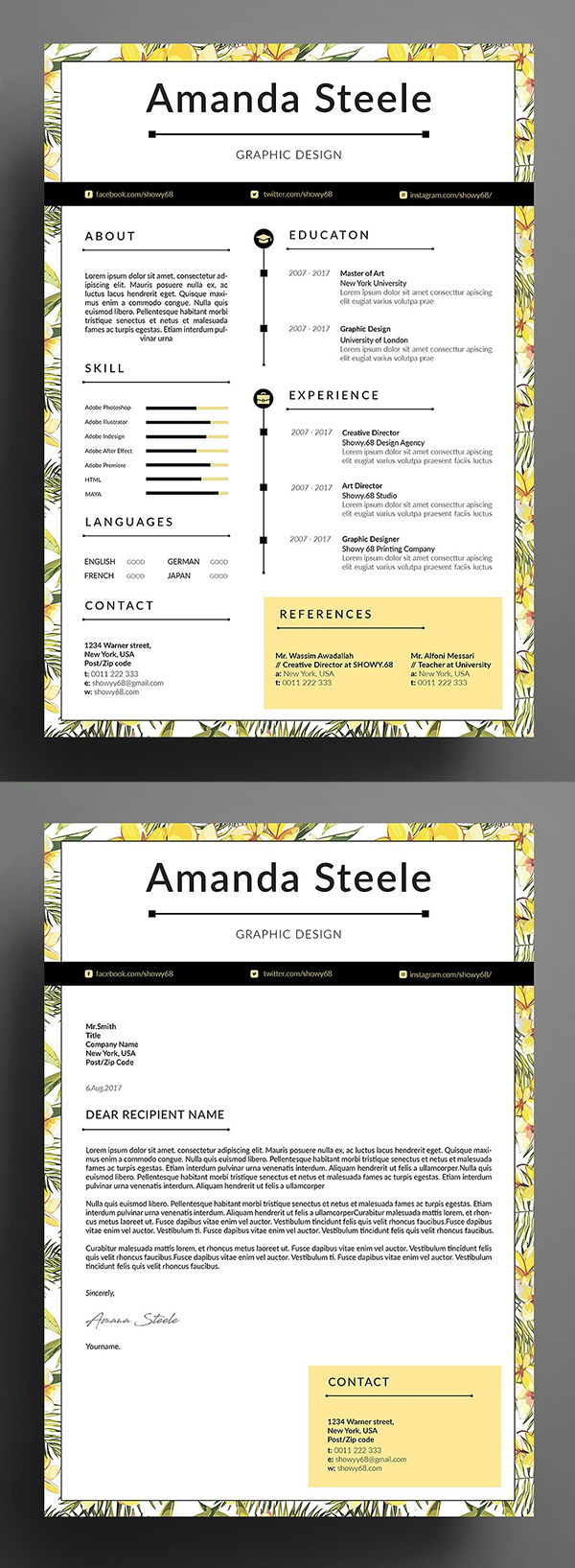 Yellow Floral Resume Template