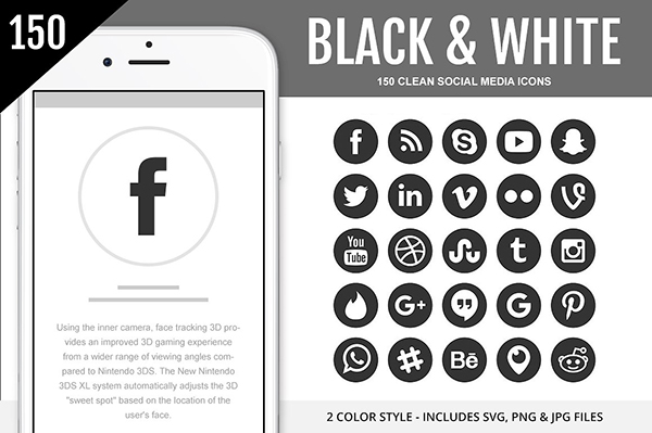 Useful Black & White Social Media icons