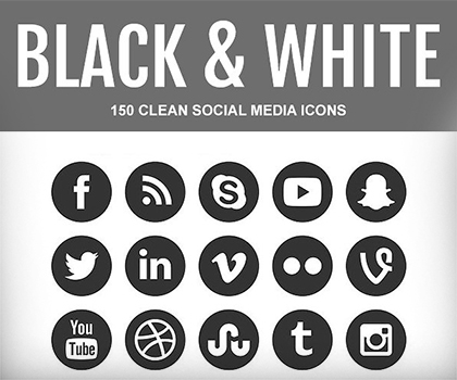 150 Useful Black & White Social Media icons