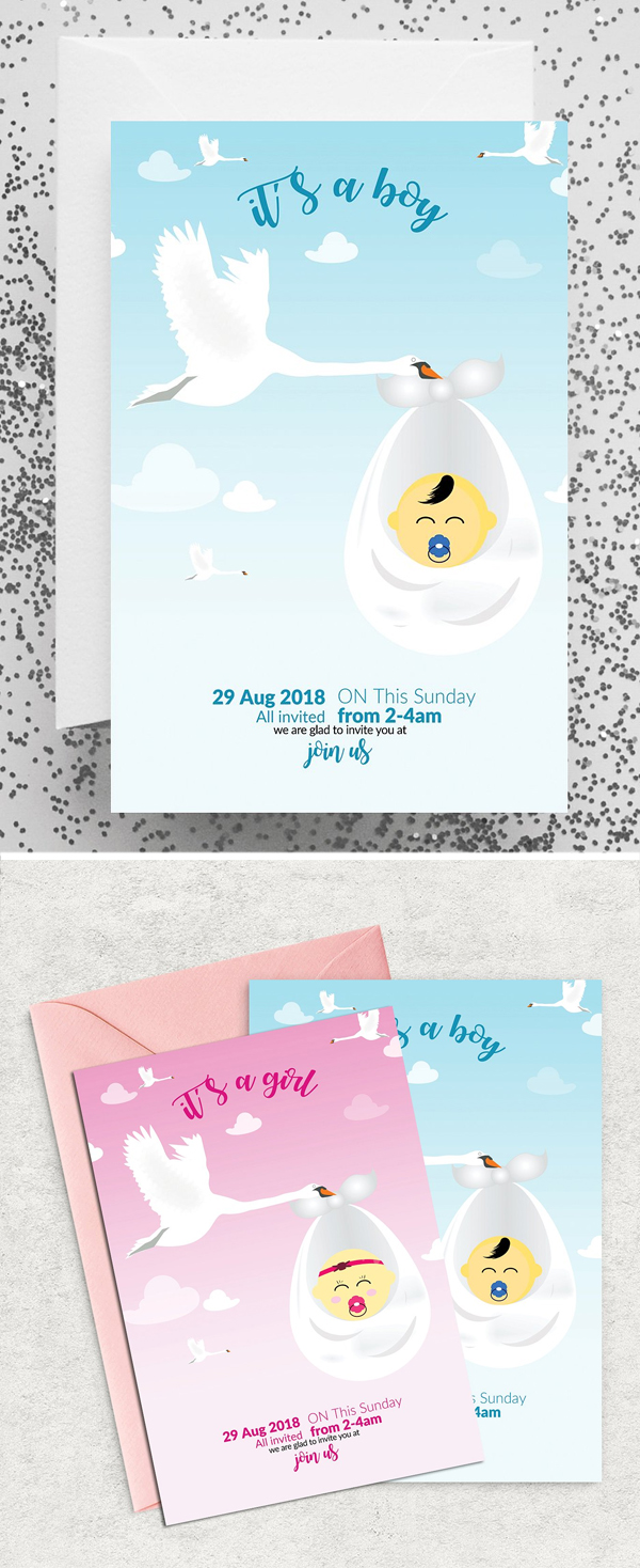 Baptisam Invite Card Template