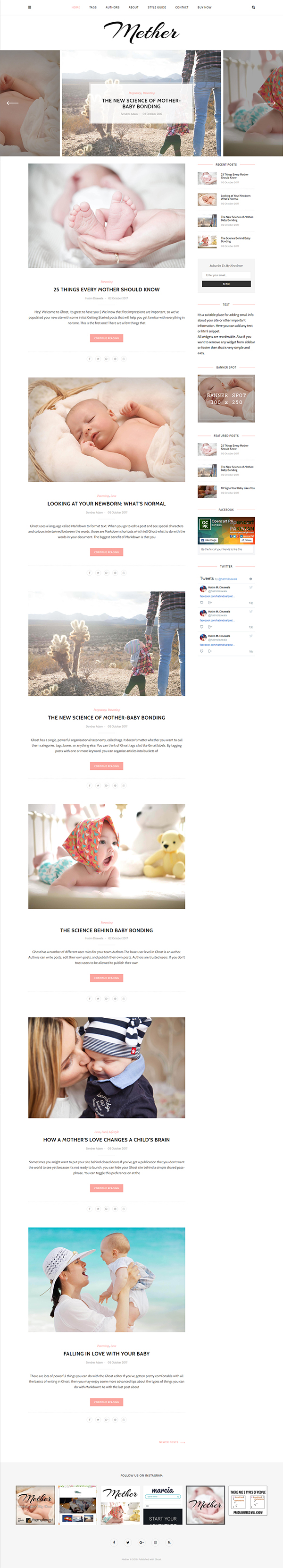 Mether - Modern Responsive Ghost Blog Theme