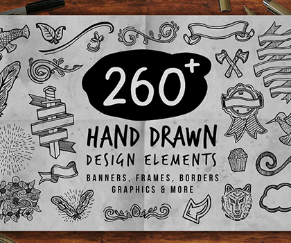 Post thumbnail of 260 Creative Hand Drawn vector Elements For Designers