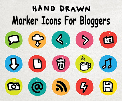 Creative Hand Drawn Marker Icons For Bloggers (PNG)