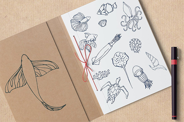Amazing Hand Drawn Vector Sea creatures and plants