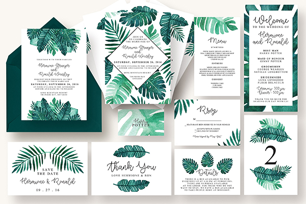Tropical Leaves Invitation Suite