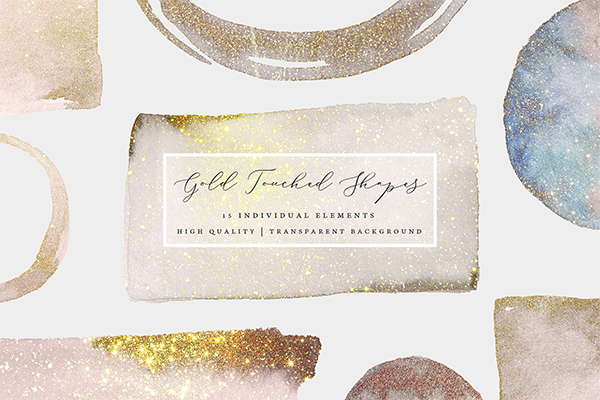 Gold Touched Shapes - Watercolor