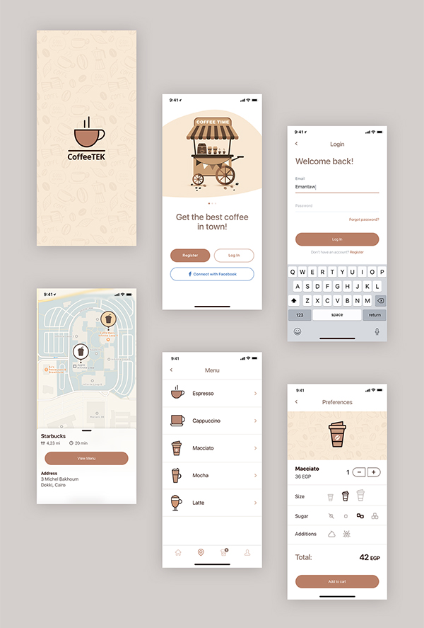 Coffee App PSD Template