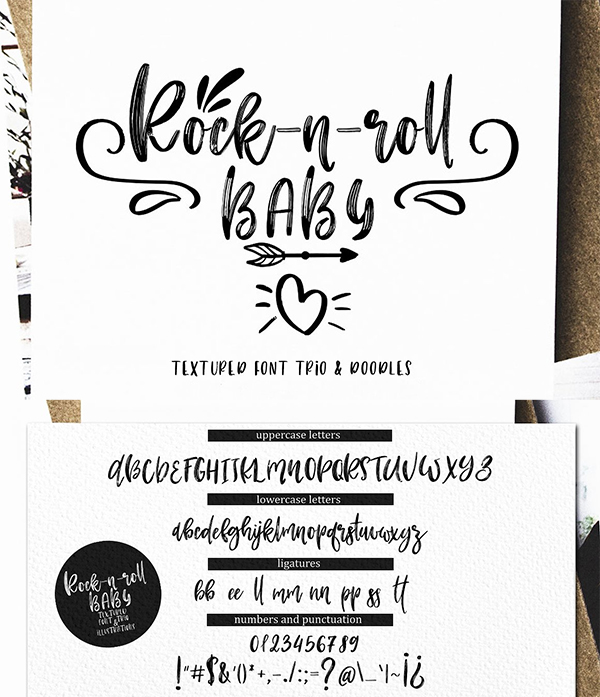 Rock - n - Roll Baby Font trio+doodles