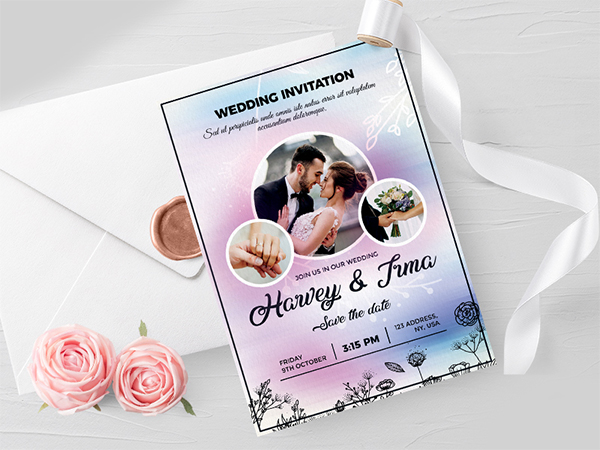 Wedding Invitation Card Free PSD