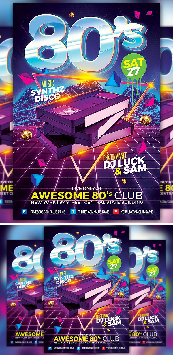 80s Club Flyer Template