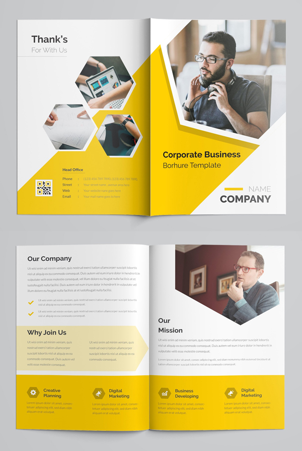 Yellow Business Bifold Brochure