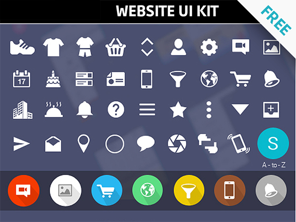 Free UI kit Modern website icons