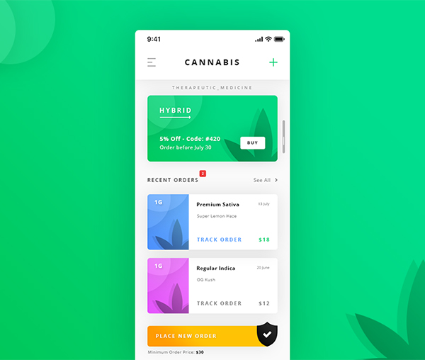 Cannabis Dashboard App Freebies