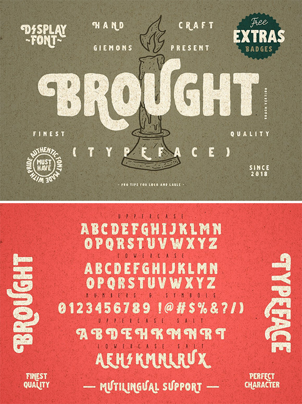 Brought Typeface – Extra Badge