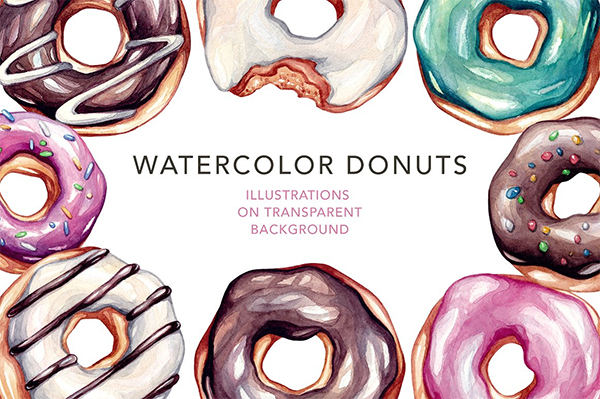 Donuts Watercolor illustrations