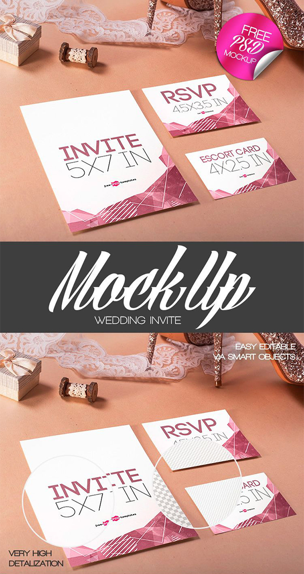 Free Wedding Invite Mock-up in PSD