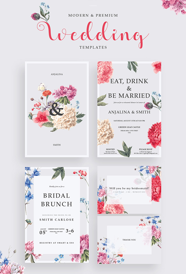 Free Modern Wedding Invitation Templates