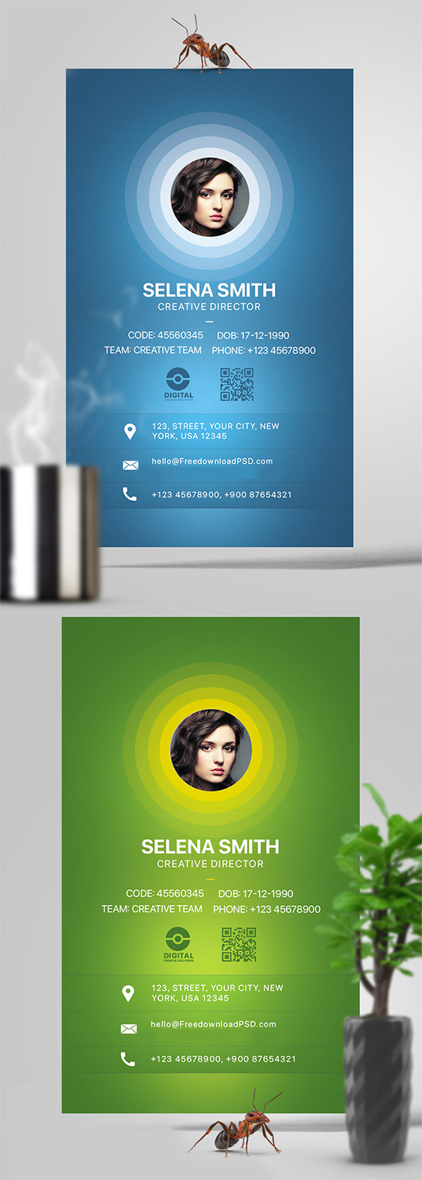 Freebie : Elegant Office Identity Card Design (PSD)