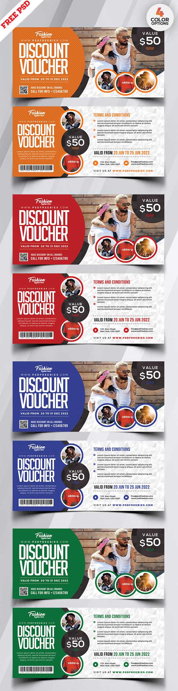 Discount Voucher Card PSD Set