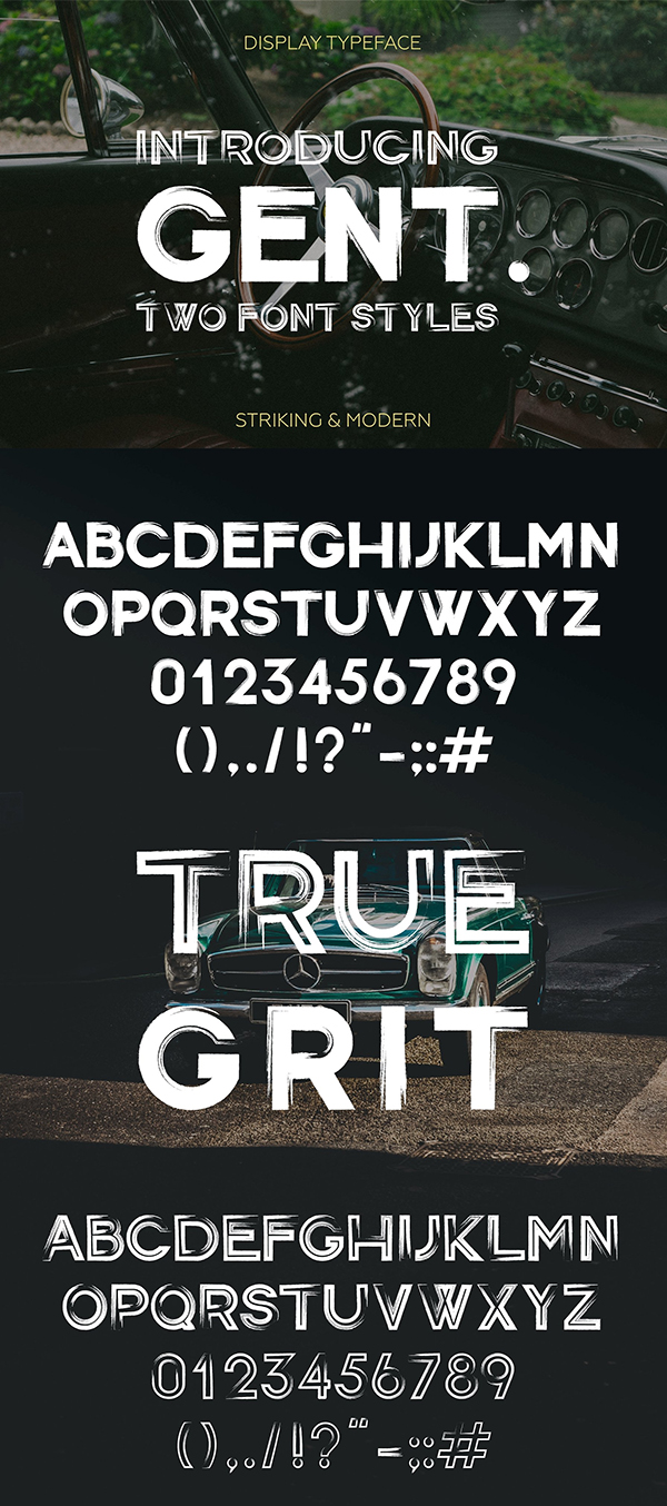 Gent Display brushed typeface