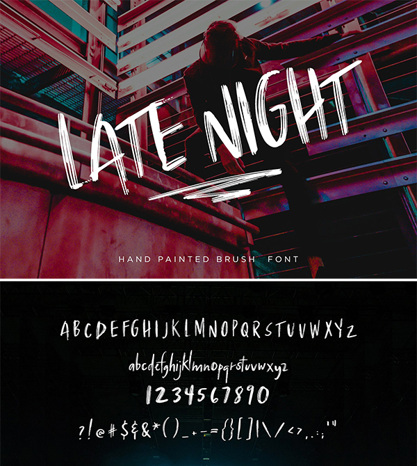 Late Night - Textured Brush Font
