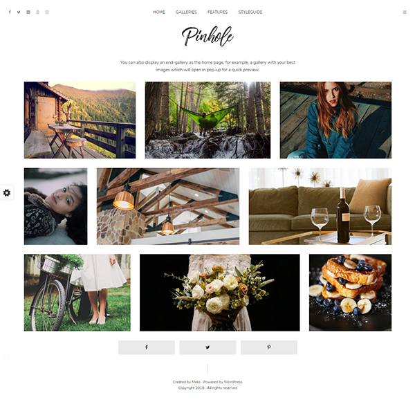Pinhole - WordPress Gallery Theme for Photographers