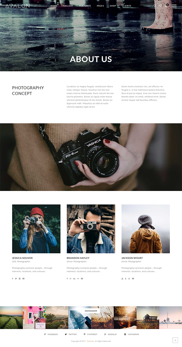 Avalon - Photography and Portfolio WordPress Theme for Photographers