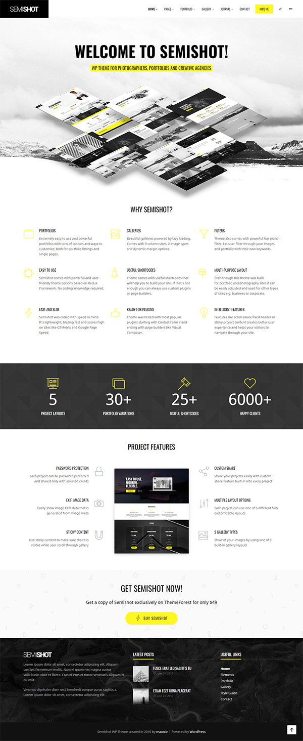 Semishot - Creative WordPress Theme for Portfolios, Photographers and Agencies