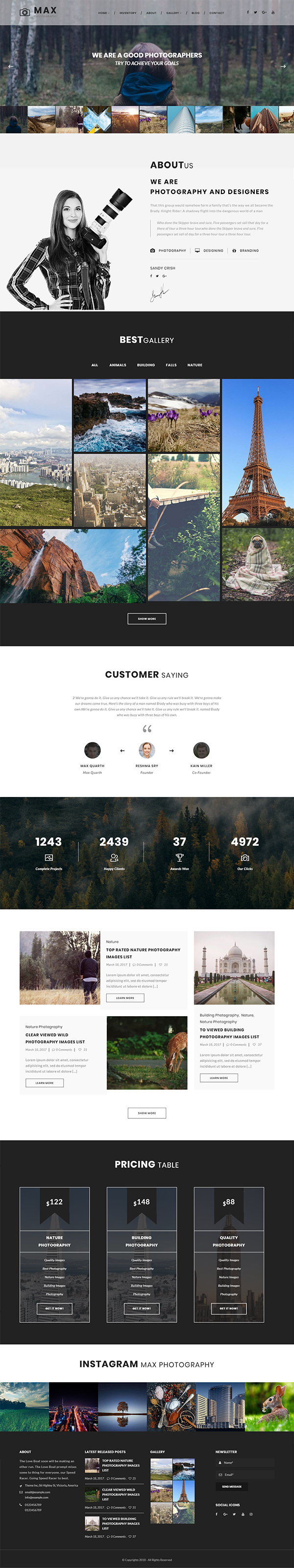 Max Photograpy - WordPress Theme for Photographers