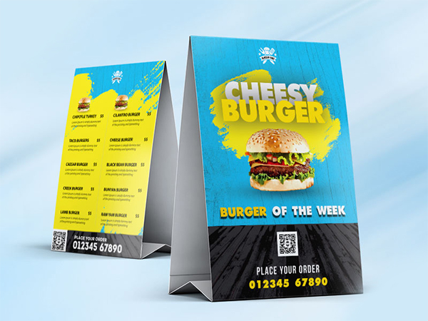 Food Menu Tent Card Design Free PSD