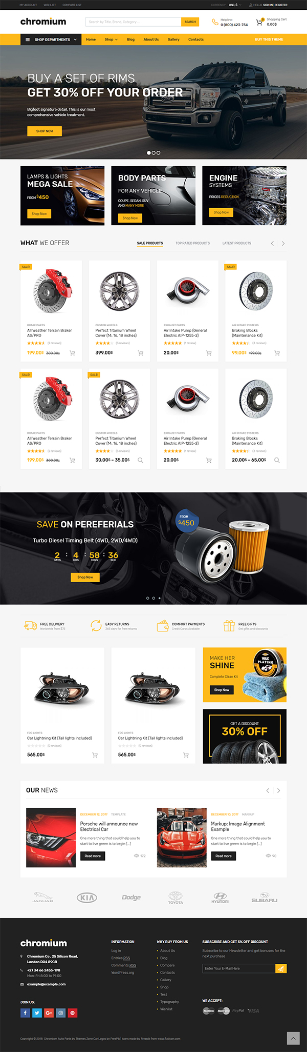 Chromium – Auto Parts Shop WordPress WooCommerce Theme