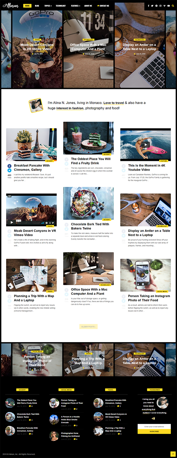 Alinan WP - A Personal WordPress Blog and Vlog Theme