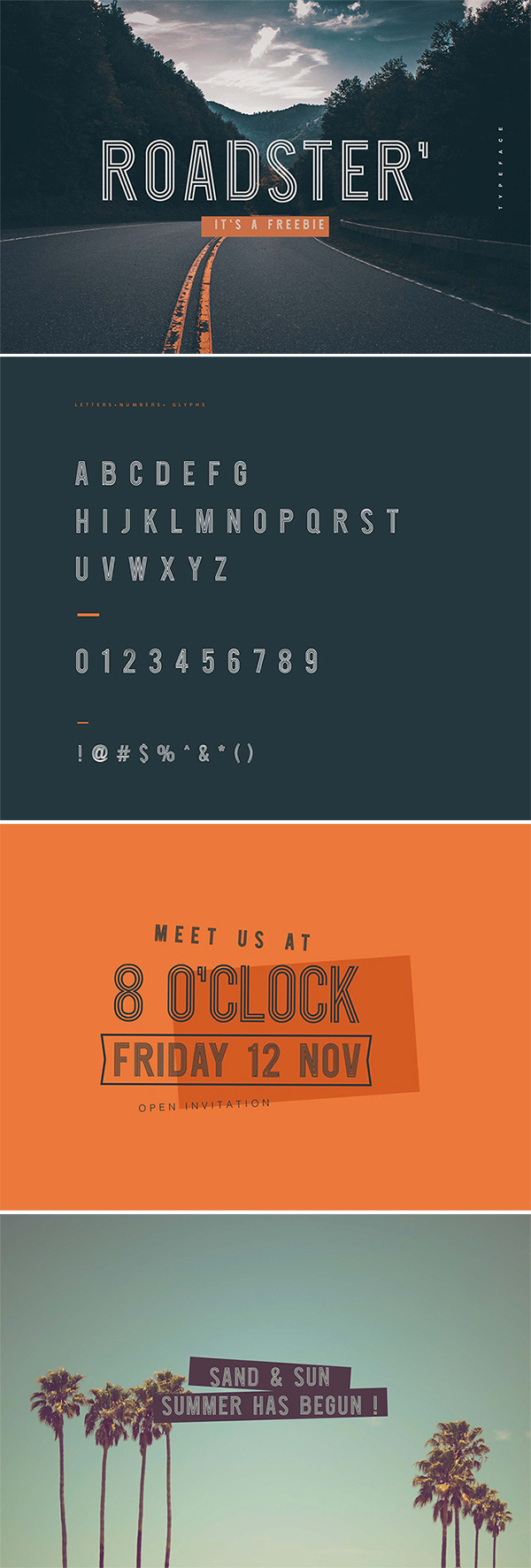 Freebie : Awesome Roadster Line Style Display Font