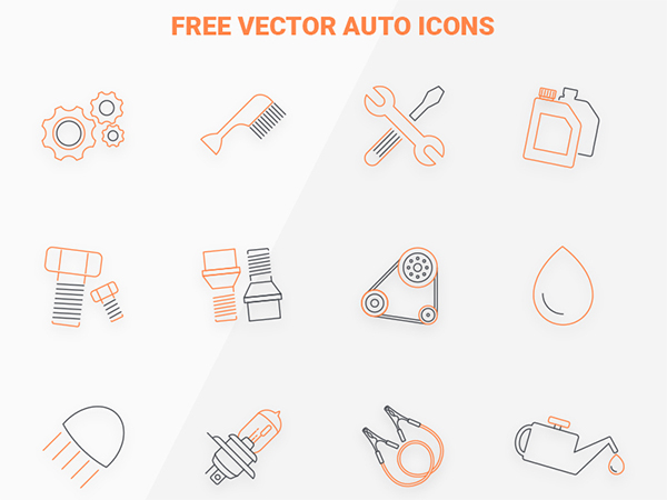 Free vector auto icon set
