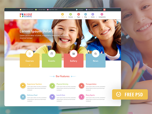 Freebie PSD: Kidz Template